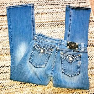 MISS ME Boot Cut Bling Rhinestone Accent Jeans